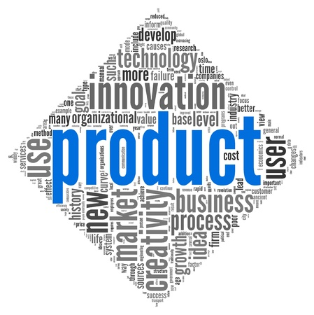 dimond: Product and creativity concept related words in tag cloud of dimond shape on white background
