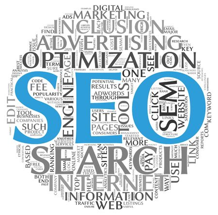 Search engine optimization SEO concept in word tag cloud on white background photo