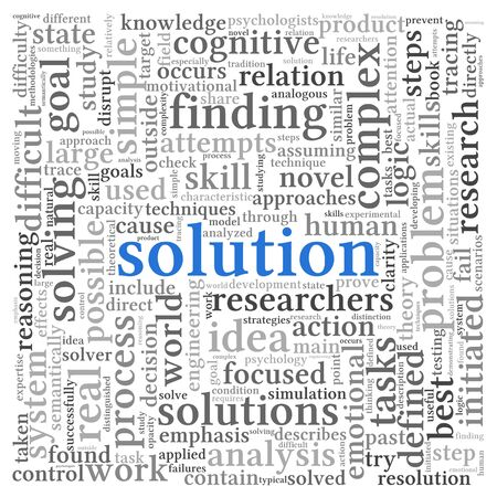 Solution concept in word tag cloud on white background Stock Photo - 14970850