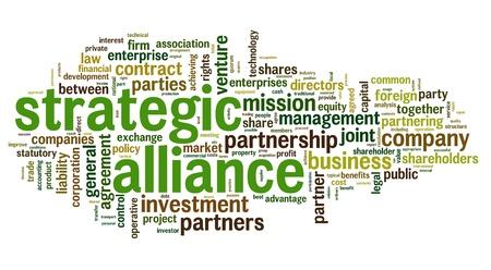 articulaciones: Concepto de alianza estrat�gica en la nube de etiquetas en blanco Foto de archivo