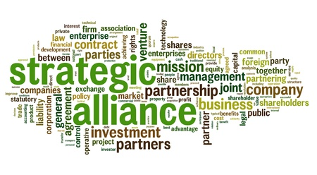 team strategy: Strategic alliance concept in tag cloud on white Stock Photo