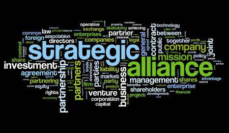 venture: Strategic alliance concept in tag cloud on black Stock Photo