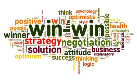 Win-win solution concept in word tag cloud on white background photo