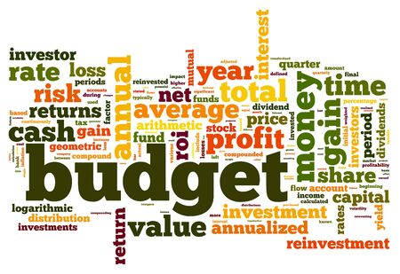 budget crisis: Budget concept in tag cloud on white