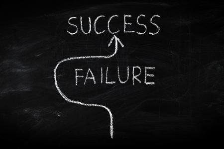 failure sign: Way to success and avoiding failure concept on blackboard