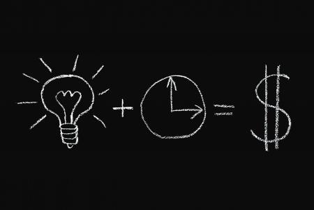 realiseren: Idee en tijd om te beseffen dat het succes - concept verdrinken op blackboard Stockfoto