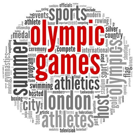 deportes olimpicos: Juegos Olímpicos concepto y las disciplinas olímpicas en la nube de etiquetas