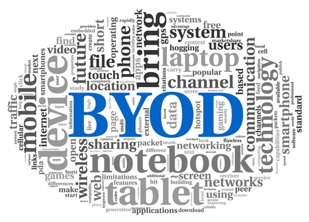 BYOD - bring your own device concept in tag cloud