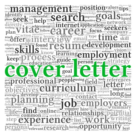 job opportunity: Cover letter concept in word tag cloud on white background