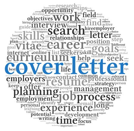 Cover letter concept in word tag cloud on white background photo