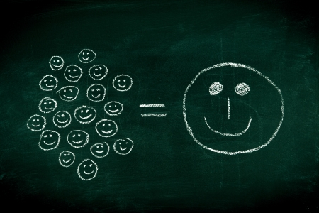 joys: Many small joys can give you happyness - concept illustrated on chalkboard