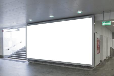 billboard background: Blank billboard located in underground hall