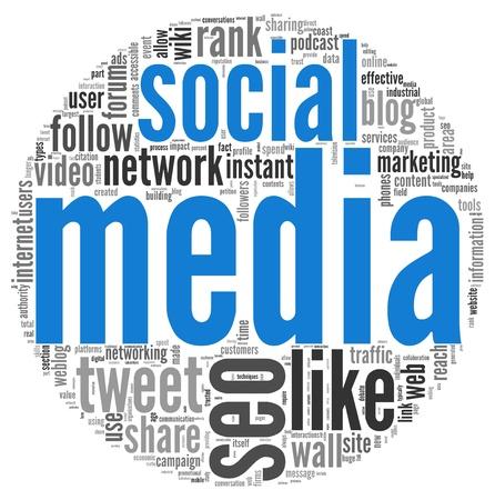 redes de mercadeo: Medios de comunicaci�n social en concepto de nube de palabras de etiqueta en blanco