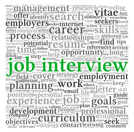 job hunt: Job  interview concept in word tag cloud on white background