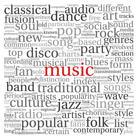 soul music: Music styles concept in word tag cloud on white