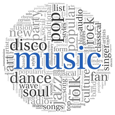 Music styles concept in word tag cloud on white photo