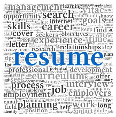 Resume concept in woord tag cloud op een witte achtergrond Stockfoto