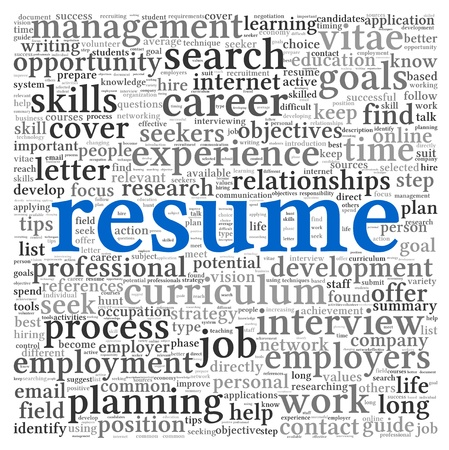 Resume concept in word tag cloud on white background photo