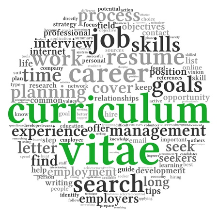 Curriculum vitae CV concept in word tag cloud on white background photo