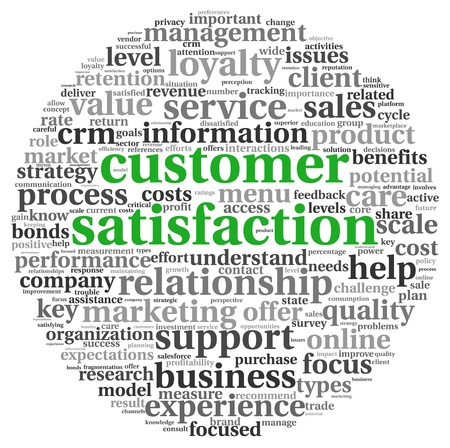 customer focus: Customer satisfaction concept in word tag clound on white