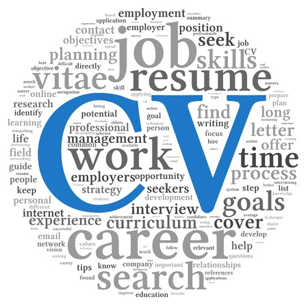 unemployed: CV Curriculum vitae concept in word tag cloud on white background Stock Photo
