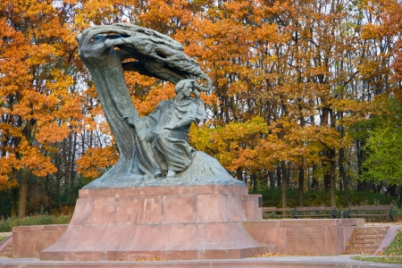frederic: Fall in Lazienki park with monument of Chopin. Warsaw, Poland. Stock Photo