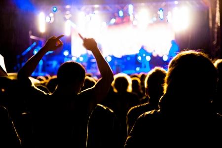 concierto de rock: Multitud de fans ar noche concierto