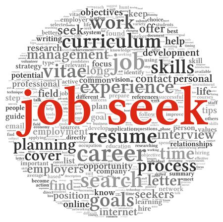 Job search concept in word tag cloud on white background Stock Photo - 15468295