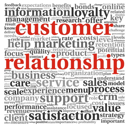relationship management: Customer relationship concept in word tag clound on white Stock Photo