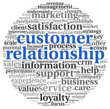clound: Customer relationship concept in word tag clound on white Stock Photo