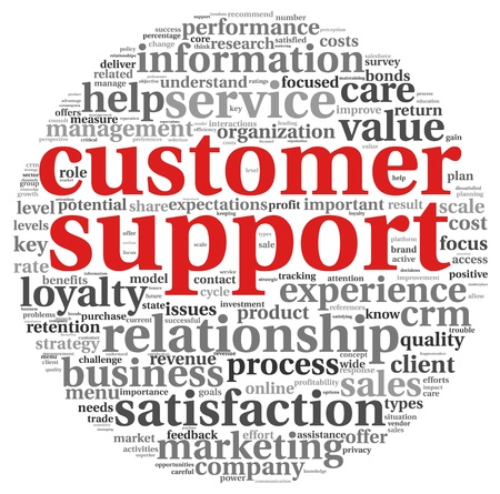 Customer support concept in word tag clound on white Stock Photo - 15662072