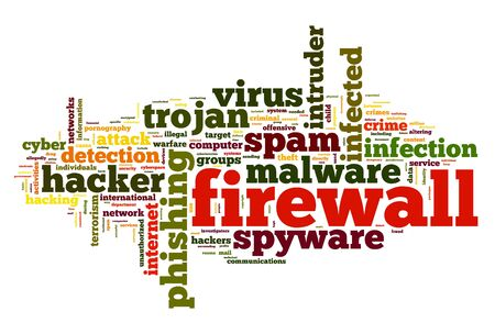 tcp: Firewall concept in word tag cloud on white background
