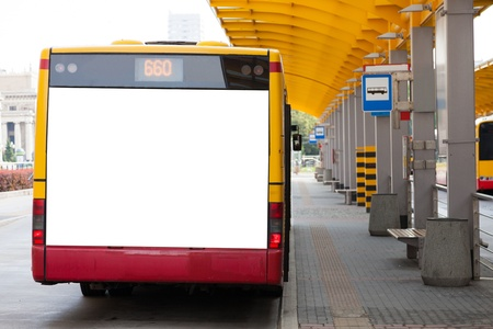 media advertising: Blank billboard on back of a bus for your advertisement