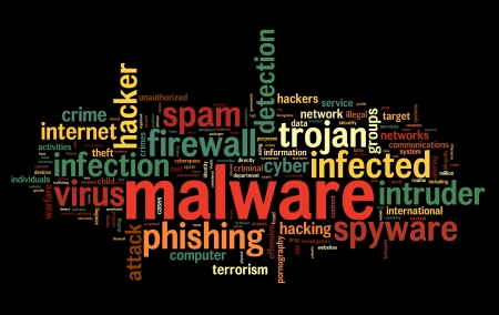 cyber crime: Malware concept in word tag cloud on black background
