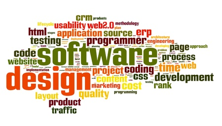 Software design concept in tag cloud on white background photo