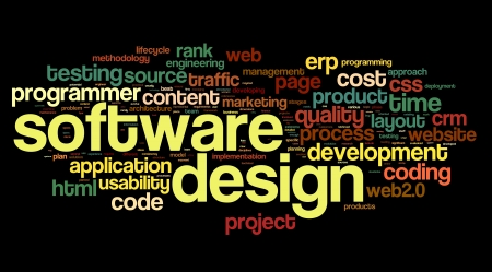 Software design concept in tag cloud on black background photo