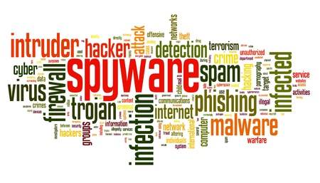 adware: Spyware concept in word tag cloud on white background