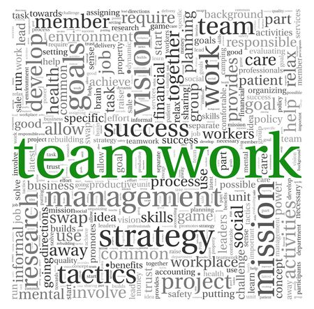 Teamwork and strategy concept in word tag cloud photo