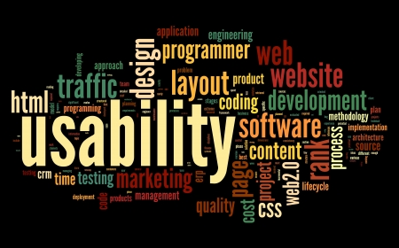 css: Web usability concept in tag cloud on black background