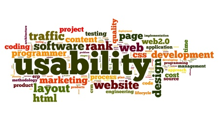 usability: Web usability concept in tag cloud on white background