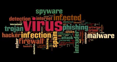 virus informatico: Spyware concepto en nube palabra de la etiqueta en fondo negro