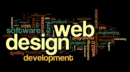Web design concept in word tag cloud on black background photo