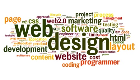 css: Web design concept in word tag cloud on white background