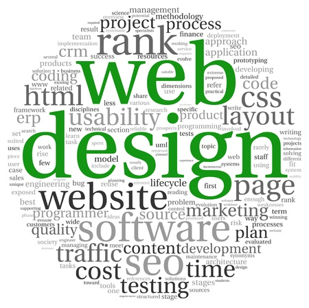 www concept: Web design concept in word tag cloud on white background