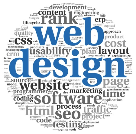 Web design concept in word tag cloud on white background photo