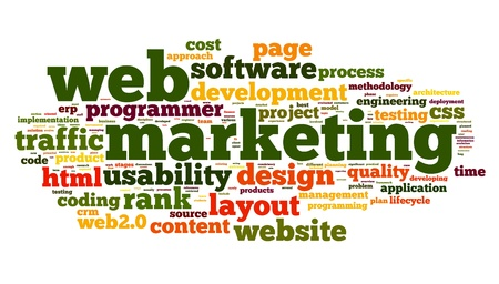 Web marketing concept in word cloud on white background photo