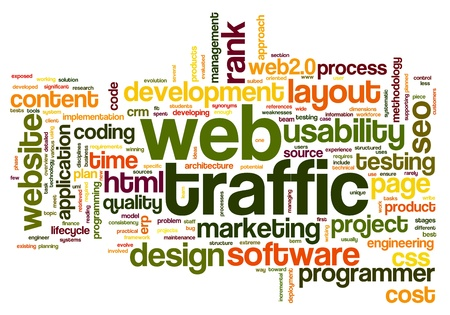 Web traffic concept in word tag cloud on white photo