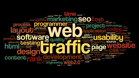 Web traffic concept in word tag cloud on black Stock Photo - 15662068