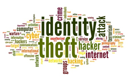 Identiry theft concept in word tag cloud isolated on white background Stock Photo - 15776500