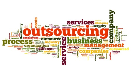 contracting: Outsourcing concept in word tag cloud on white background Stock Photo